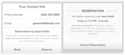 REservation table facebook